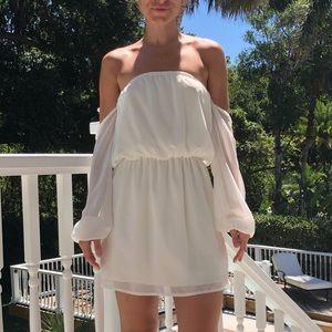 TOBI Off Shoulder White Mini Dress - Size Small